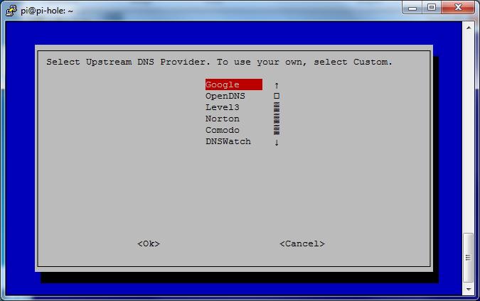 Écran de choix des DNS